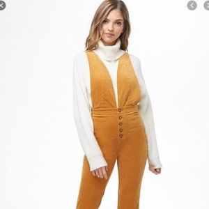 NWT Forever 21 Plunge Corduroy Overalls